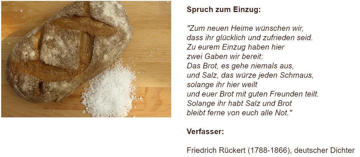 Umzug Salz Brot Spruch Einzug