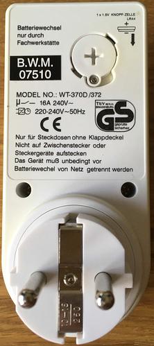 Wochentags-Schaltuhr WT-370D - Rückansicht
